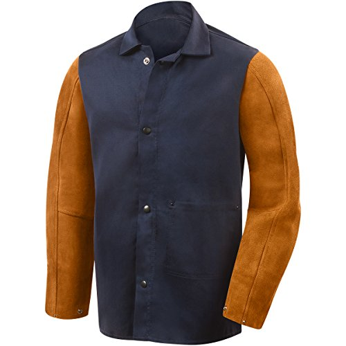Steiner 1260-X 30-Inch Jacket, Weldlite Plus Navy Cotton, Rust Cowhide Sleeves, Extra Large