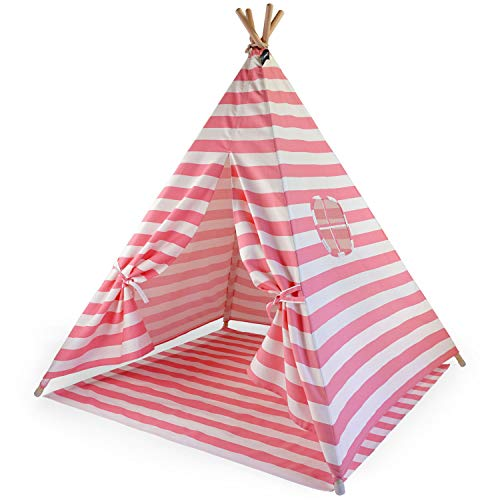 Hej Lønne Kinder Tipi, rosa weiß gestreiftes Zelt, ca. 120 x 120 x 150 cm groß, Spielzelt mit Bodendecke und Fenster, inkl. Beutel und Anleitung, für drinnen und draußen, schadstofffrei, 76896069