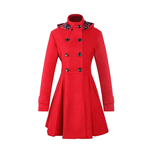 Women Winter Swing Double Breasted Wool Pea Coat Dress with Hood Spring Mid-Long Long Sleeve Standing Collar Dress Coats (red, XL)