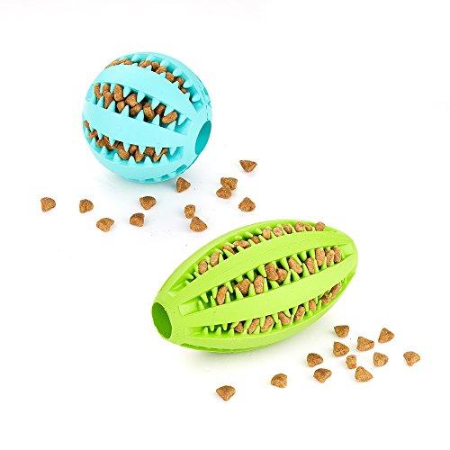 AMATHINGS Doppelpack (=2 Stück) Hundespielzeug Ball In Blau Und Ei In Grün Premiumqualität Snackball (7 cm) Und Rugbyball (11 cm) Zur Zahnpflege Und Spielspaß