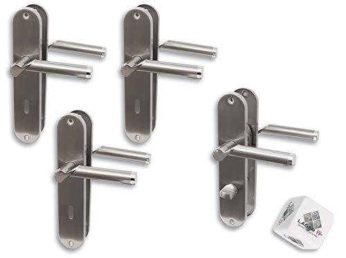 Türbeschlag 4er Set, L17/A02 Edelstahl Renovierungsgarnitur für Zimmer- und Badtüren glanzlackiert, Türklinke Türgriff