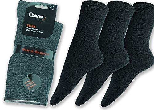 Qano RELAX Herren-Komfortsocken 3er-Pack (43/46, anthrazit)