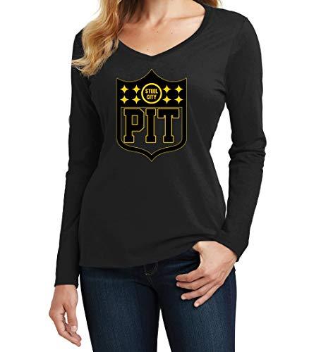 America's Finest Apparel Pittsburgh Shield - Women's Longsleeve (Small, Black)