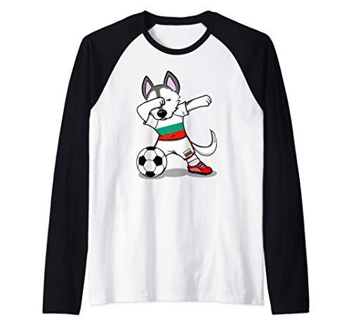 Funny Dabbing Husky Bulgaria Fútbol - Bandera búlgara Camiseta Manga Raglan