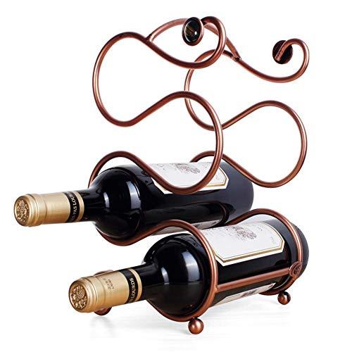ZUQIEE Estante de vino de metal, estante de almacenamiento de vino de hierro forjado, soporte vintage, 17 x 15,5 x 29,5 cm