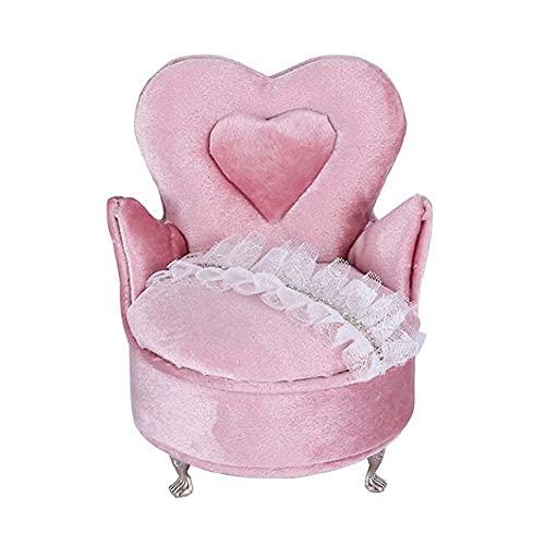 East Utopia Rosa Samt Mini Schmuckschatulle Aufbewahrungsorganisator Spitze Prinzessin Einzelsessel Möbelform Schmuckhalter