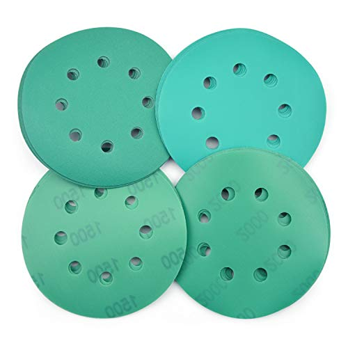 POLIWELL 5 Inch Sanding Discs 8 Holes 240/600/1500/2000 Grit Wet Dry Film-Backed Green Line Hook and Loop Dustless Power Random Orbital Sander Paper, for Car Paint Wood or Metal Polishing, 20 Pack