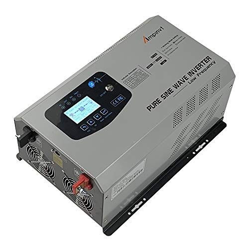 AMPINVT 3000W Peak 9000W Pure Sine Wave Power Inverter DC 12V to AC 110V Ouput Converter with Battery AC Charger 60A max Adjustable,Off Grid Low Frequency Solar Inverter for Camping RV