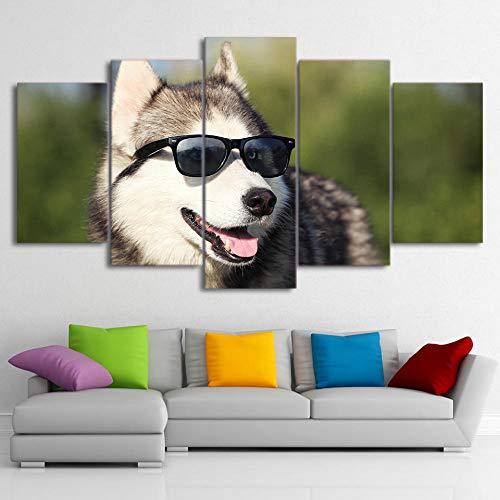 ZNNHERO Leinwanddrucke HD gedruckt 5 Stück Leinwand Kunst Cool Husky Haustier Malerei Hund tragen Brille Wandbilder Wohnzimmer Drucke auf Leinwand Rahmen
