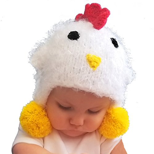Huggalugs Baby and Toddler Childrens White Chicken Beanie Hat S