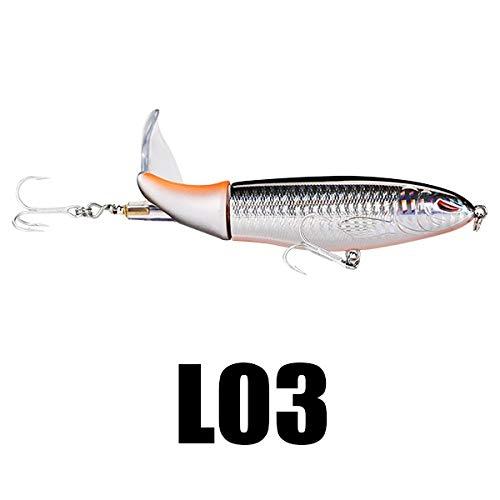 W-SHUFANG, Whopper Plopper 13g 19g 39g Lure Fishing 1P Topwater Hard Bait VMC Hook Seabass Carp Fishing Lure Pesca de Invierno (Color : 3, tamaño : 39g 130mm)