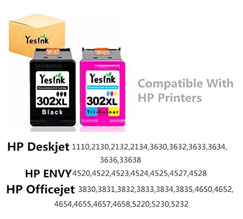 302XL Cartuchos de tinta para tinta HP 302 Cartucho tinta HP 302 HP 302 XL Cartuchos HP 302 para HP DeskJet 1110 3630 Envy 4520 Officejet 3830 (1 Negro 1T ricromia)