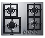 Summit Appliance GCJ4SS 24' Wide 4-Burner Gas Cooktop, Stainless Steel Surface, Sealed Burners, Push-to-Turn Knobs, Thermocouple Flame Failure Protection, Electric Ignition, Conversion Kit Included