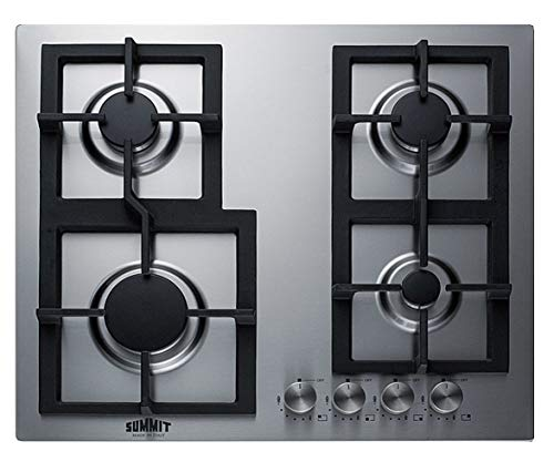 """Summit Appliance GCJ4SS 24"""" Wide 4-Burner Gas Cooktop, Stainless Steel Surface, Sealed Burners, Push-to-Turn Knobs, Thermocouple Flame Failure Protection, Electric Ignition, Conversion Kit Included"""