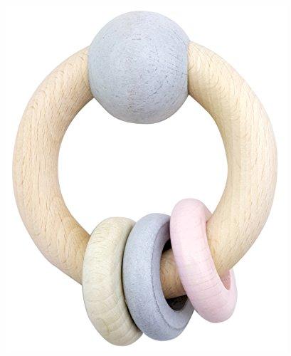 Hess 11118 - Holzspielzeug, Rundrassel mit Kugel und 3 Ringen aus Holz, nature rosa