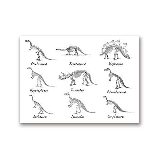DLFALG Cuadro de dinosaurios Lista de arte de pared Póster de impresión Especie de dinosaurio Paleontología Lienzo Pintura Imagen de educación Decoración de habitación de niños-40x60cm Sin marco