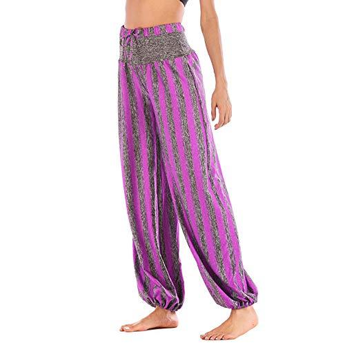 Pantalón Largo de Mujer Harem con Estampado de Talla Grande para Mujer Pantalón Ancho Leggings Anchos Mujeres Harén Pantalones Arabes de Cintura de cordón Boho Yoga