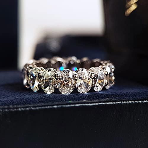 YANGYUE Anello con Diamante moissanite Taglio Ovale 925 Anelli di Fidanzamento in Argento Sterling con FEDI Nuziali per Gioielli da Sposa da Donna