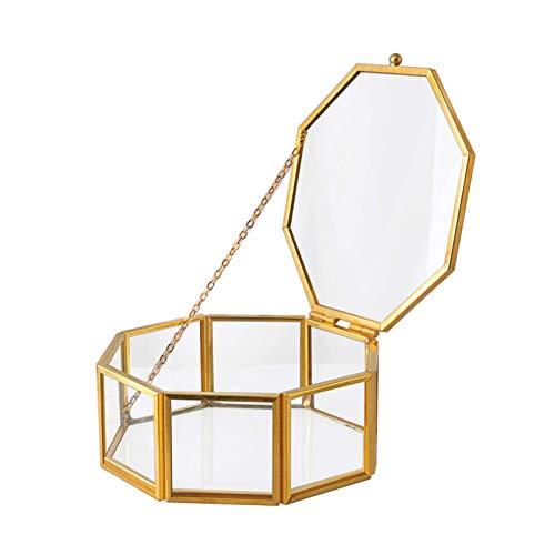 NA/ Scwopeuer - Joyero de cristal retro de 8 lados con borde pulido, organizador de joyas y almacenamiento