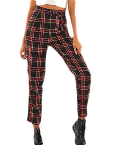 SOWTKSL Pantalones Sueltos de otoño para Mujer, Cintura Alta, cómodos, Sueltos, a Cuadros, Pantalones al Tobillo Rojo Rojo Vino XS