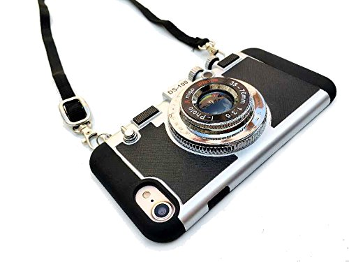 UCLL iPhone 8 Plus case , iphone 7 plus case Modern 3D Vintage Style Camera Design Silicone Cover For 5.5 iphone 7plus iphone 8 plus with Long Strap Rope and a Screen protector (black)