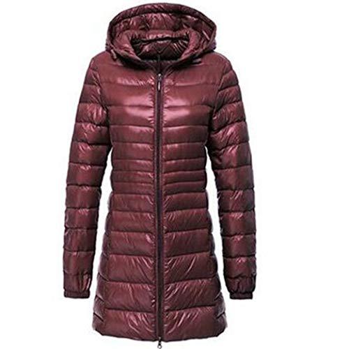 Abrigo de Invierno para Mujer Mid-Thigh Parkas largas y Delgadas A Prueba de Viento con Capucha Tallas Grandes Color Caramelo Packable Ropa de Abrigo cálida Ultraligera
