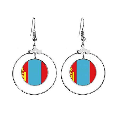 Mongolië Nationale Vlag Azië Land Oorbellen Dangle Hoop Sieraden Drop Cirkel