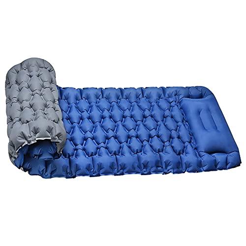 Almohadilla de dormir inflable para acampar, prensar los pies, colchoneta de aire para acampar con almohada impermeable y portátil para mochileros compacto ultraligero senderismo al aire libre