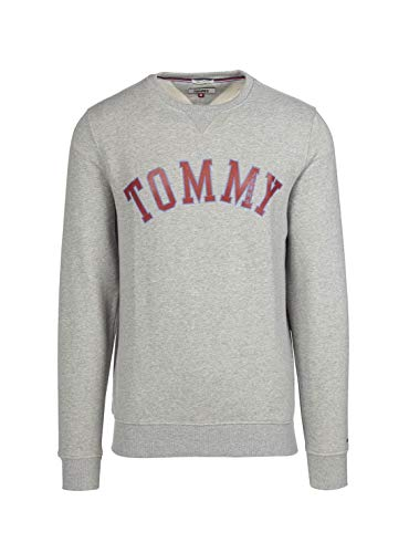 Tommy Hilfiger Herren Crewneck Pullover Sweatshirt, Hellgrau meliert Grafik, X-Large