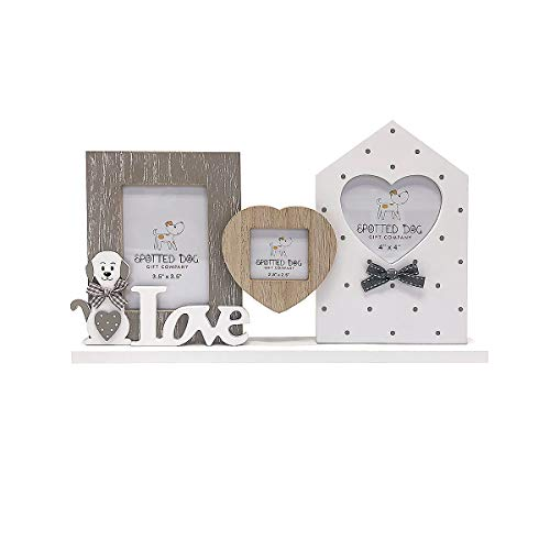 Photo Frame for 3 Photos, Wooden Multi Colour Triple Picture Frame, Grey...