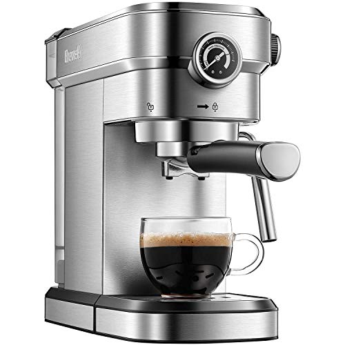 Brewsly 15 Bar Espresso Machine, Stainless Steel Compact Espresso Maker with Milk Frother Wand , Professional Coffee Machine for Espresso, Cappuccino and Latte (Renewed)