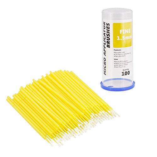 TCP Global 100 Paint Touch Up Brushes, Disposable Micro Brush Applicators, Yellow with Fine 1.5 mm Tips - Auto Body Shop, Auto Car Detailing, Hobby