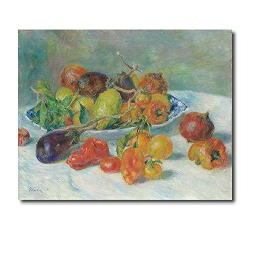 Fruit van Renoir Canvas Schilderij Kalligrafie Prints Home Decoratie Muurdecoratie Poster Foto's voor Woonkamer Slaapkamer -60x80cm Geen Frame