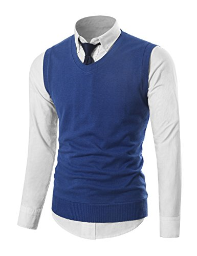 MIEDEON Mens Casual Slim Fit Knit Vest Sweater Blue