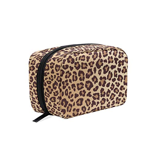 ZOEO Makeup Pouch Leopard Classic Chic Mini Makeup Bag Organizer Travel Zip Toiletry Bag Small Cosmetic Train Case Beauty Bag for Teens Girls Women