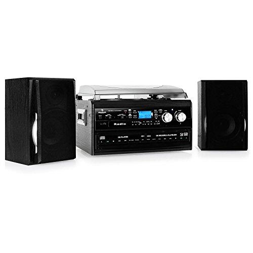 auna TCDR-186 Stereoanlage mit Plattenspieler Kompaktanlage (Doppel-CD-Player, UKW Radio, AUX, Kassettendesk, Holz-Chassis) schwarz
