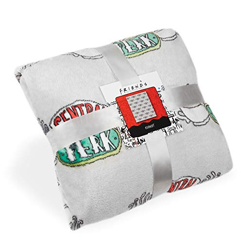 Friends Mantas Para Sofa, Manta Polar Extra Suaves con Diseño Central Perk, Mantas Para Cama Color Gris, Merchandising Oficial Accesorios Para el Hogar