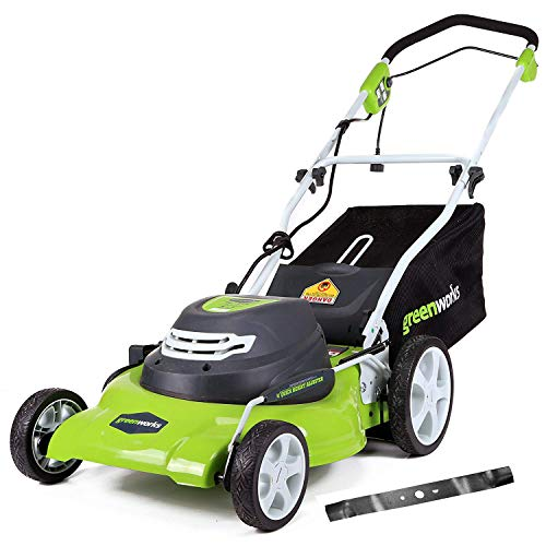 Greenworks 20-Inch 12 Amp Corded Electric Lawn Mower with Extra Blade25022