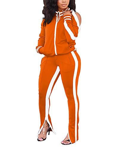 Akk Womens 2 Piece Tracksuit Long Sleeve Jacket Bodycon Sweatpants Set Sports Outfit Casual Jogging Suit Orange, Size XL