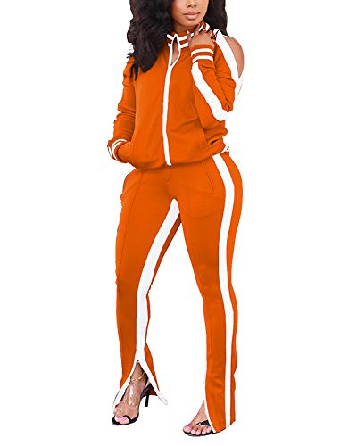 Akk Womens 2 Piece Tracksuit Long Sleeve Jacket Bodycon Sweatpants Set Sports Outfit Casual Jogging Suit Orange, Size XL