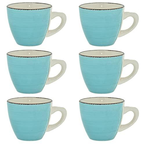 CREOFANT Juego de tazas de café de 6 piezas, tazas de gres para 6 personas, tazas de café, vajilla de gres, servicio de café pintado a mano (turquesa)