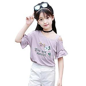 Burning Go 子供服 半袖 Tシャツ 女の子 綿 トップス 夏 アイスクリーム プリント 刺繍 肩出し ゆったり カジュアル ナチュラル 可愛い 通学 通園