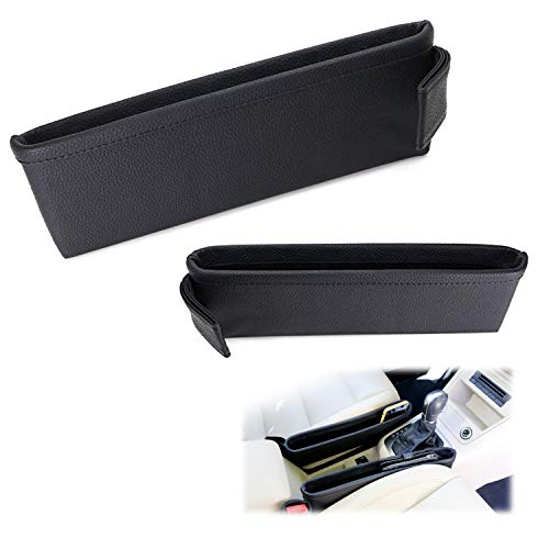 iJDMTOY (2) Black Leather Extra Long Car Side Pocket Organizers, Seat Catcher Holders Compatible With Key, Wallet, Phone, Sunglasses, etc
