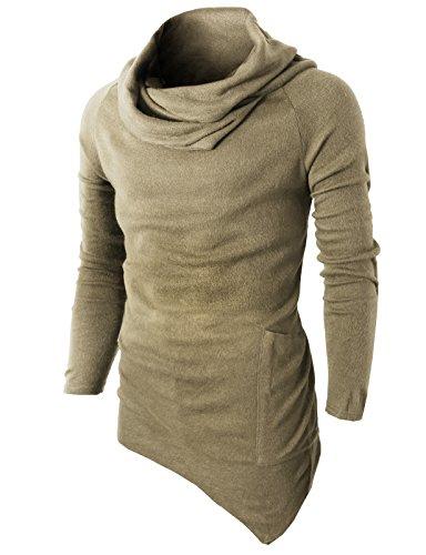 H2H Mens Casual Turtleneck Slim Fit Pullover Sweater Oblique Line Bottom Edge Beige US M/Asia L (KMTTL046)