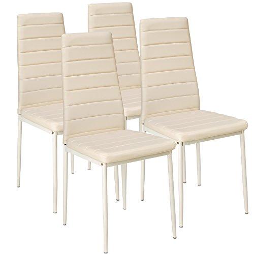 TecTake Lot de Chaise de Salle à Manger 41x45x98,5cm - diverses Couleurs et modèles au Choix - (4X Beige | No. 401847)