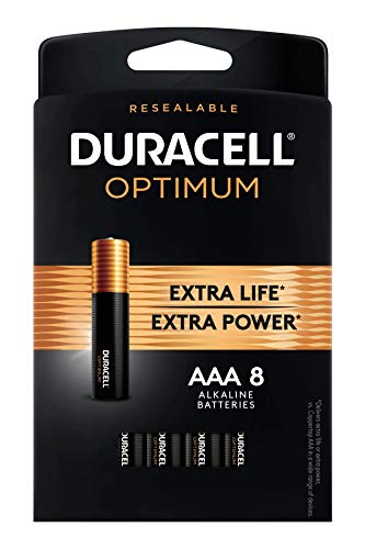 Duracell Optimum AAA Batteries   8 Count Pack   Lasting Power Triple A Battery   Alkaline AAA Battery Ideal for Household and Office Devices   Resealable Package for Storage