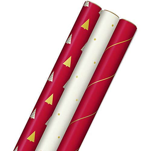 Hallmark Minimalist Christmas Wrapping Paper with Cut Lines on Reverse (3 Rolls: 120 sq. ft. ttl) Red, White, Gold Trees, Stripes, Dots