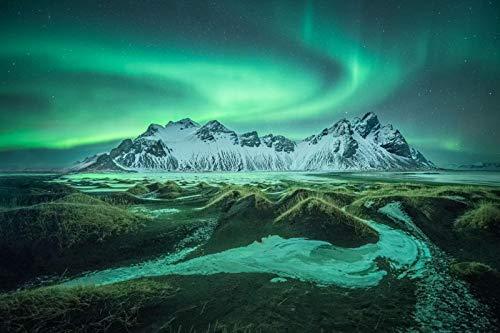 Colorido Y Hermoso Rompecabezas para Adultos De Puzzle 1000 Piezas, Rompecabezas Desafiante Aurora Boreal Verde