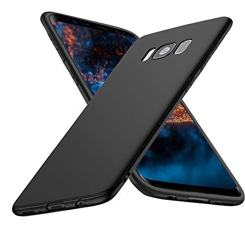 Whew hülle Kompatibel mit Samsung Galaxy S8, Matt Schwarz Silikon Handyhülle, Anti Fingerabdruck R&umschutz -rutschfest Weiche Schutzhülle, Stoßfest Fallschutz Hülle Kompatibel mit Samsung Galaxy S8