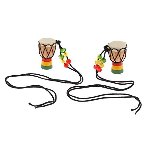 2 Stück Holz Mini Djembe Anhänger Halskette Afrikanische Trommel Halskette Seillänge 5cm - B